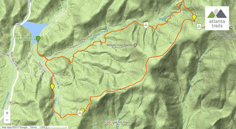 Appalachian Trail In Georgia Map.Appalachian Trail Jarrard Trail And Slaughter Creek Trail Loop