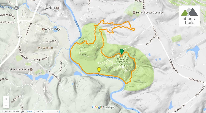 State Botanical Garden Of Georgia Map.State Botanical Garden Of Georgia Great Athens Running Trails