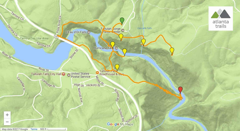 tallulah gorge sliding rock trail map directions details