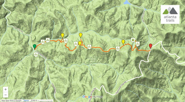 Appalachian Trail Three Forks To Hawk Mountain Shelter - Appalachian trail shelters map