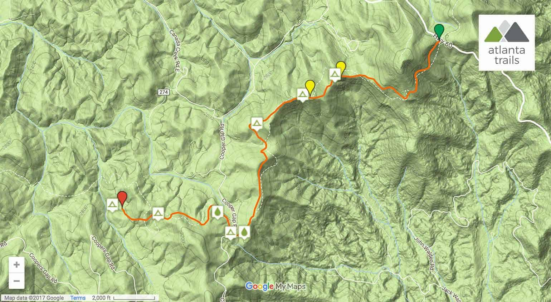 Appalachian Trail Woody Gap To The Gooch Mountain Shelter - Appalachian trail shelters map