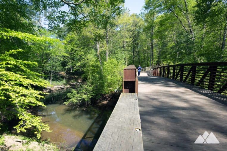 South Peachtree Creek Trail: run a scenic route on a raised wooden boardwalk from Decatur's Mason Mill Park