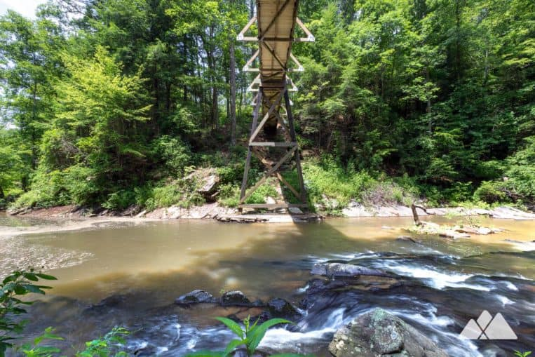 Carters Lake: cross a towering suspension bridge to hike to two waterfalls on the Tumbling Waters Nature Trail