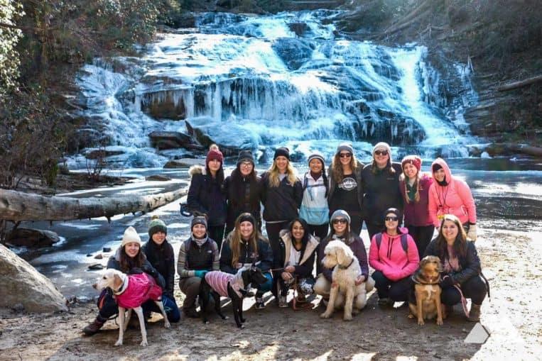 Girls Who Hike Georgia hiking group at Panther Creek Falls