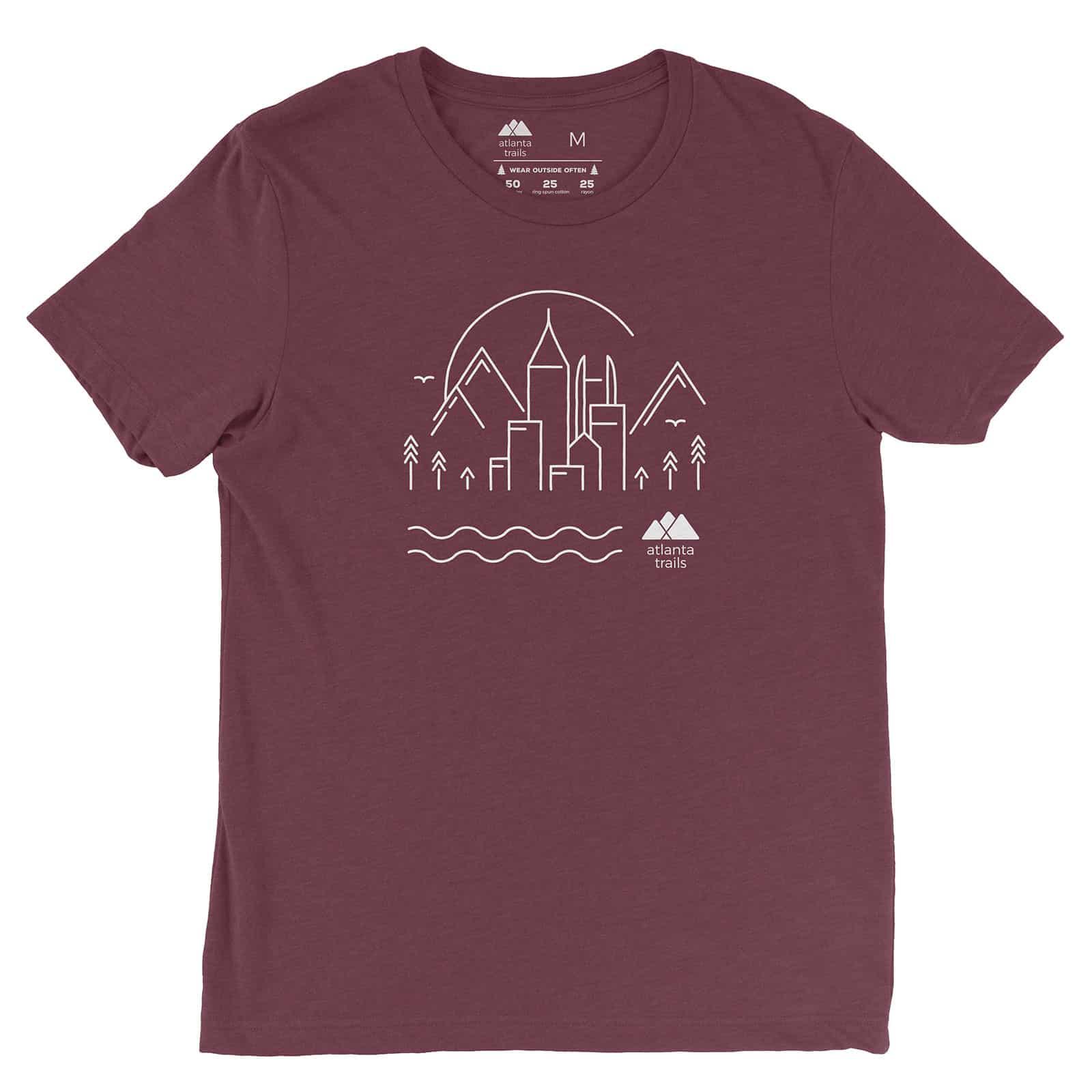 Atlanta trails skyline t shirt maroon for T shirt printing cartersville ga